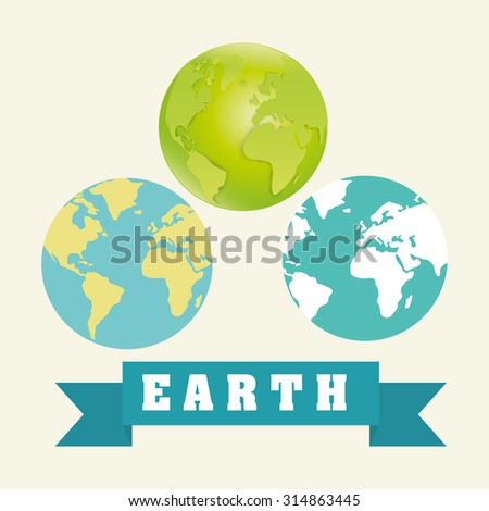 Planet  and ecology over white and flat background design, vector illustration 10 eps graphic.