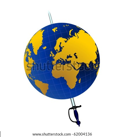 planet and sword. Vector - stock vector