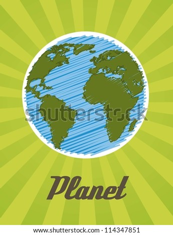 planet cartoon drawing over green background. vector illustration