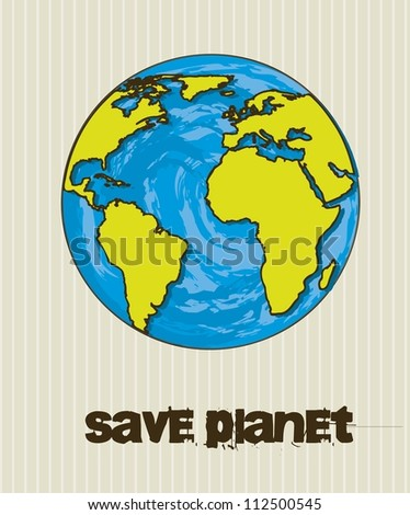 planet cartoon over vintage background, save planet. vector
