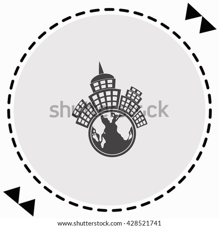 Planet city icon Flat Design. Isolated Illustration. - stock vector