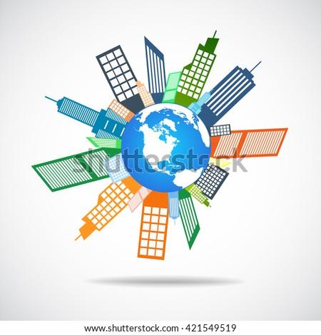 Planet city pictograph icon - stock vector