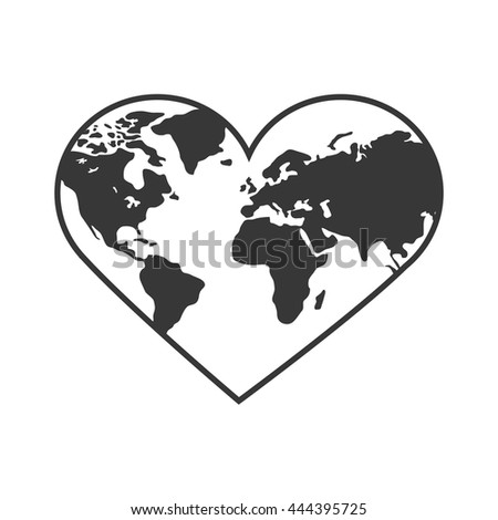 Planet concept represented by earth in form of heart shape icon. isolated and flat illustration  - stock vector