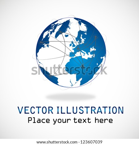 Planet connections network design, internet network. Connections planet for your business artwork isolated on white background - Modern Vector illustration graphic design. Logo Symbol - stock vector