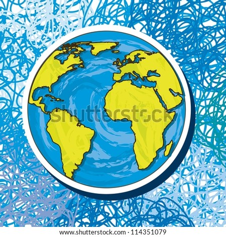 planet drawing over blue background. vector illustration - stock vector