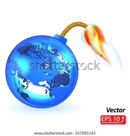 planet earth bomb, isolated on white background vector - stock vector