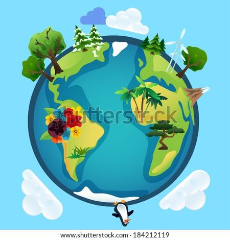 Planet earth eco model in vector - stock vector