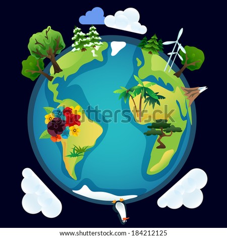 Planet earth eco model in vector