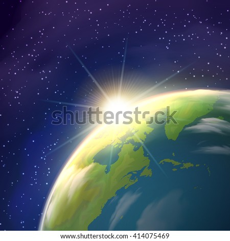 Planet earth globe  pace view with bright rising sun and stars constellations on blue background  realistic  poster vector illustration  - stock vector