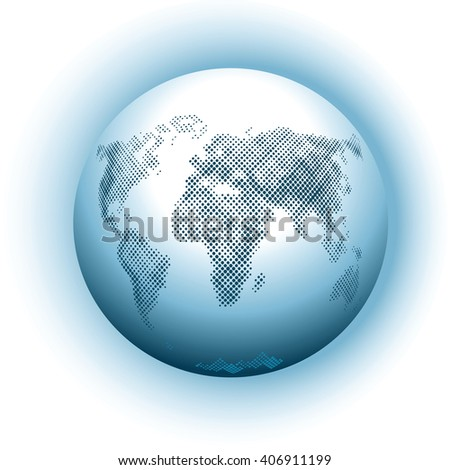 Planet Earth, globe with oceans and continents, the atmosphere, the view from space, top view, isolated on white background.  Science of Astronomy and geography, school atlas.  - stock vector