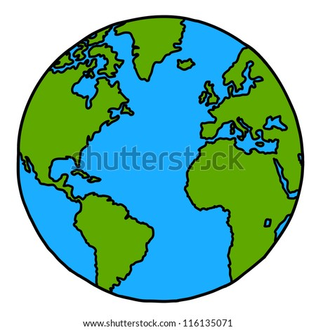 Planet earth hand writing cartoon. ( credit : nasa) - stock vector