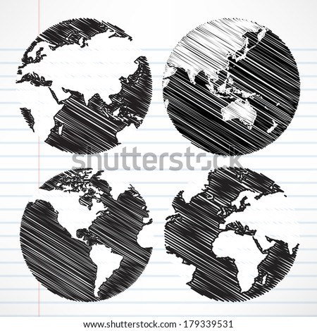 Planet earth hand writing world map - stock vector