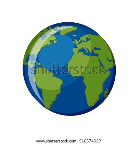 Planet Earth icon isolated on white background. Globe map with blue ocean and green continents, view from space. Cartoon style vector illustration.