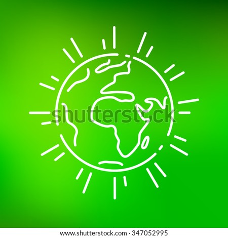 Planet earth icon. Planet earth sign. Planet earth symbol. Thin line icon on green background. Vector illustration. - stock vector