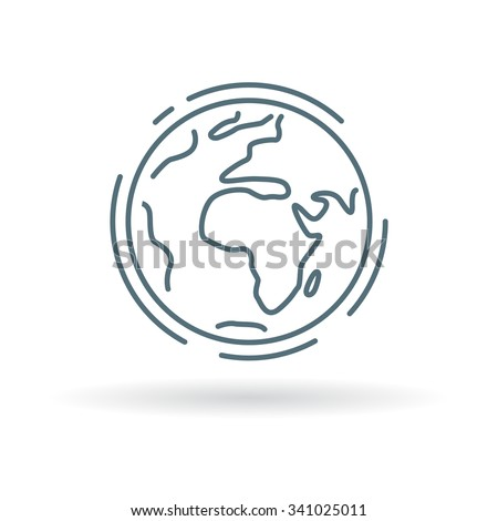 Planet earth icon. Planet earth sign. Planet earth symbol. Thin line icon on white background. Vector illustration. - stock vector