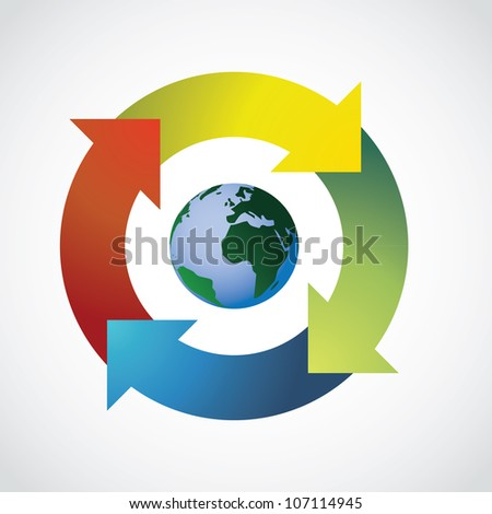Planet Earth in arrow circle - illustration - stock vector