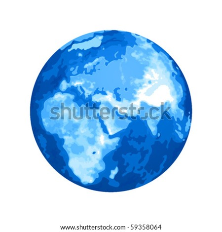 Planet Earth in blue color - stock vector