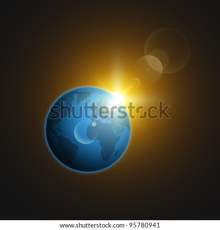 Planet Earth in deep space against the background stars, with sun highlights. Vector set.