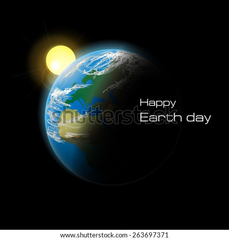 Planet Earth in space. Happy Earth day. Vector illustration. - stock vector