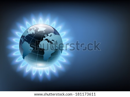 planet earth in the blue flame of a gas burner - stock vector