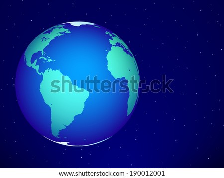 Planet Earth on the starry sky. Elements of this image furnished by NASA. All objects are independent and fully editable  - stock vector