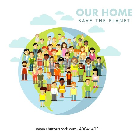 Planet Earth people concept. Different multi cultural multi ethnicity people crowd on planet Earth background - stock vector