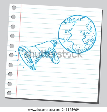 Planet Earth speaking in to megaphone - stock vector