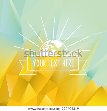 planet earth symbol on polygonal background  - stock vector