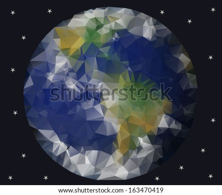 planet earth view from space, geometric triangle style vector - stock vector