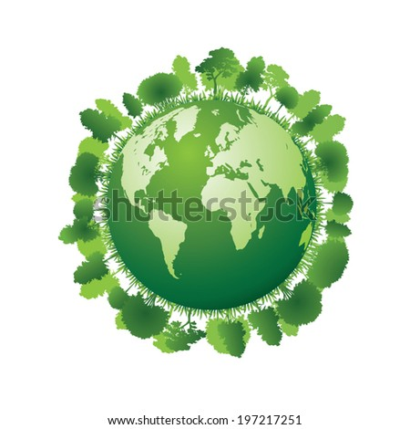 Planet earth with plants. Vector illustration - stock vector