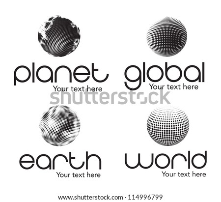 Planet, earth, world and global icons  over white background - stock vector