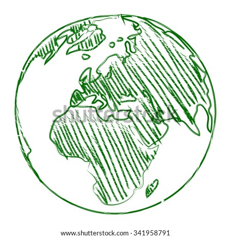 planet earth world map sketch vector drawing - stock vector