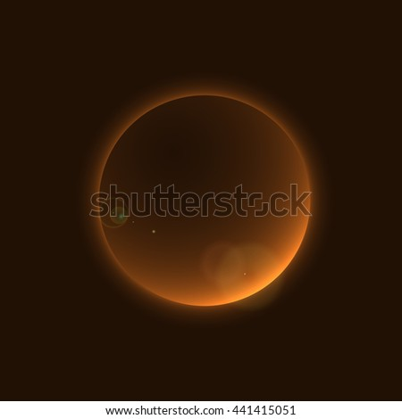 Planet glow sign in cosmic space galaxy. Abstract shine moon icon isolated on black background. Light star night. Symbol of science, universe, astronomy and world, cosmos, eclipse. Vector illustration - stock vector