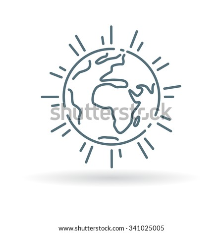 Planet icon. Earth sign. World symbol. Thin line icon on white background. Vector illustration. - stock vector