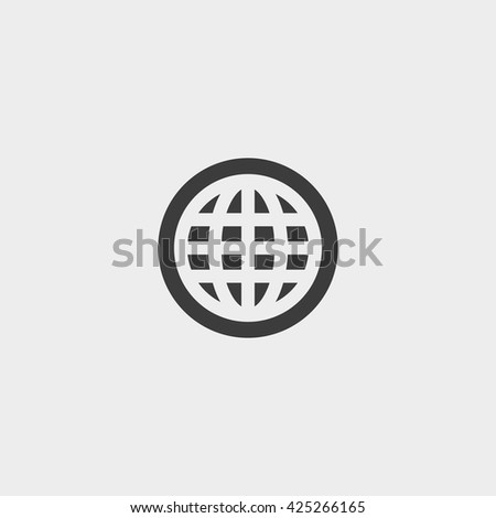 Planet  icon in a flat design in black color. Vector illustration eps10 - stock vector