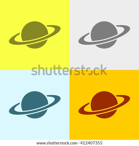 Planet Icon on Four Different Backgrounds. Eps-10.
