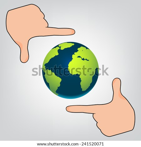 Planet in Focus with hands gray background - stock vector
