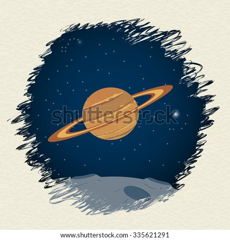 Planet in space background. Vector illustration - stock vector