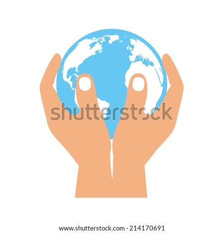 Planet in the hands - stock vector