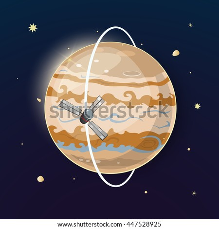 Planet Jupiter and spacecraft is moving in a polar orbit, vector illustration on space background with stars - stock vector