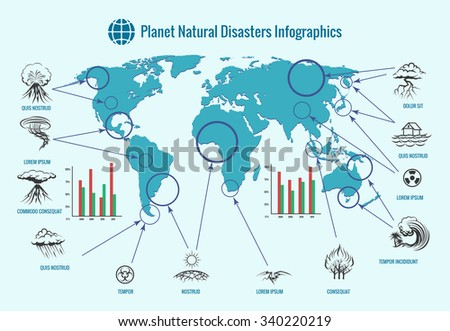 Planet natural disasters infographics. Earthquake and flood, tornado and tsunami, fire and eruption volcano, storm and hurricane, vector illustration - stock vector