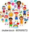 planet of kids, colorful vector illustration - stock vector