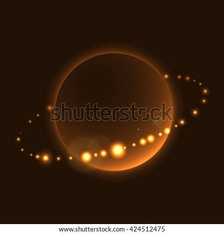 Planet sign with rings in cosmic space. Abstract shine icon, isolated on black background. Light stars night. Glow orbit. Symbol of saturn, universe, astronomy and world, cosmos. Vector illustration - stock vector