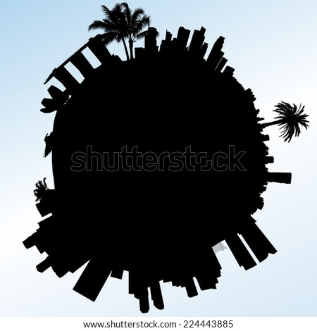 Planet Singapore vector illustration. With silhouette of Marina Bay - stock vector