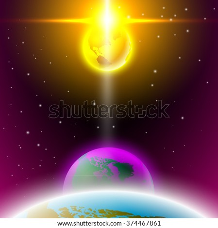 planet space shine with flash - stock vector