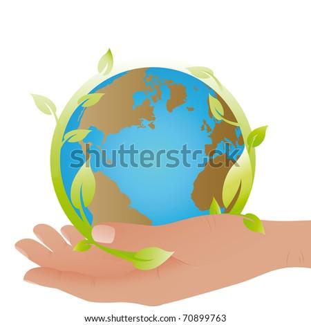 Planet symbol in my hand - stock vector