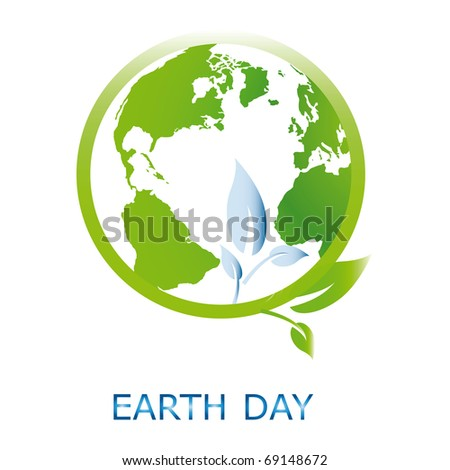 Planet symbol on Earth Day - stock vector