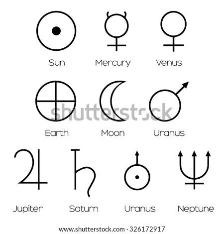 Planet Symbols Illustration Main Symbols Astrology Stock Vector