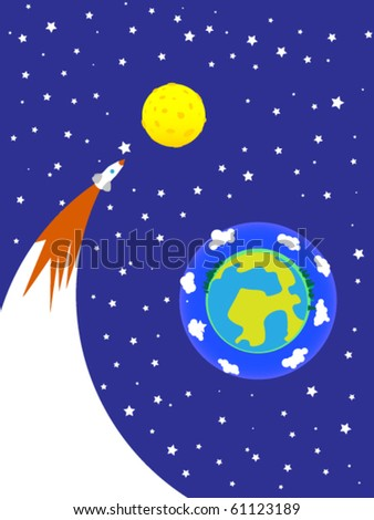 Planet the earth and the flying rocket. - stock vector