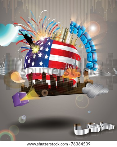 planet usa. vector background. explosion of colors and shapes - stock vector
